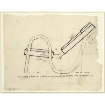 Design - Sketch of 'S' bend chair, side elevation, scale 1:10.
