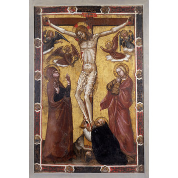 Oil painting - The Crucifixion with the Virgin and Saint John; St Anthony Abbot at the foot of the Cross