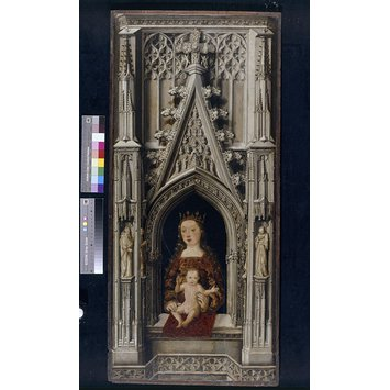 Oil painting - The Virgin and Child in a Gothic architectural setting