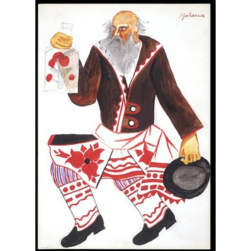Design - Costume design for 'Le Coq d'Or', Russian Peasant with a Flask of Vodka.