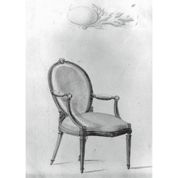 Drawing - Design for an oval-back chair with red upholstery from; A Miscellaneous Collection of Original Designs, made, and for the most part executed, during an extensive Practice of many years in the first line of his Profession, by John Linnell, Upholserer Carver & Cabinet Maker. Selected from his Portfolios at his Decease, by C. H. Tatham Architect. AD 1800.