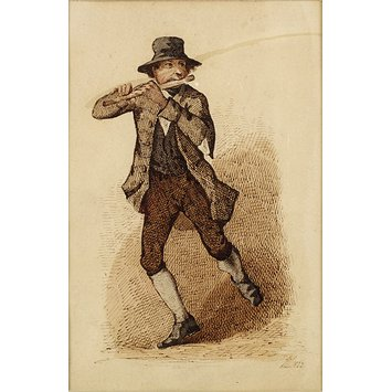 Watercolour drawing - An Irish flute player dancing a jig