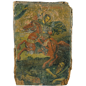 Icon - St Demetrius slaying a pagan