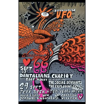 Poster - Psychedelic poster for two shows at the Roundhouse UFO
