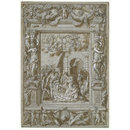 The Adoration of the Shepherds, in an architectural frame ornamented with caryatids, putti, festoons, birds, trophies etc (Drawing)