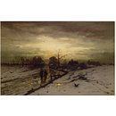 Winter Scene: Sunset (Oil painting)