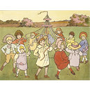 Children dancing round a Maypole (Illustration)