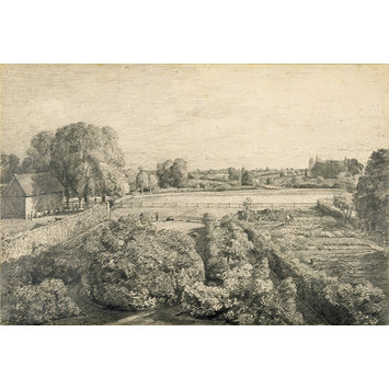 Drawing - View at East Bergholt over the kitchen garden of Golding Constable's house