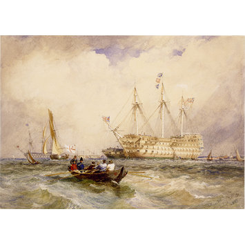 Watercolour - Ships of war in the Medway, off Sheerness