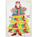 Costume design for a Russian woman in yellow flowered skirt. (Costume design)