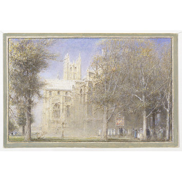 Watercolour - Canterbury- South East view of the cathedral, with a procession