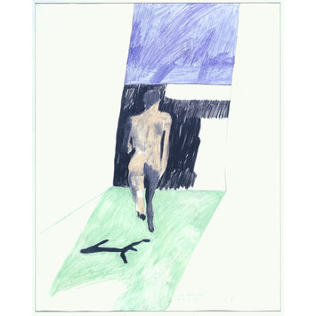 Drawing - Man running toward a bit of blue.