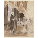 Sir Robert Peel reading to the Queen (Watercolour)