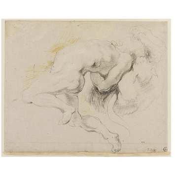 Drawing - Study of a Nude Male Figure Tormented by a Demon