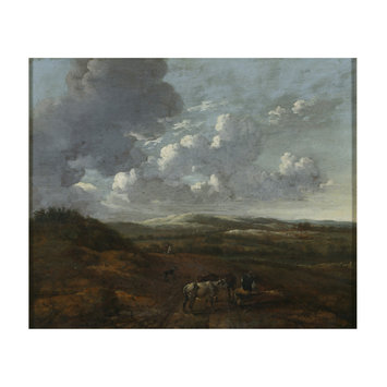 Oil painting - Landscape with cattle and herdsmen seated on a log