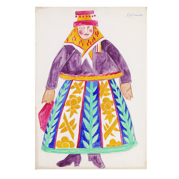 Costume design - Russian woman with purple blouse, costume design for 'Le Coq d'Or'