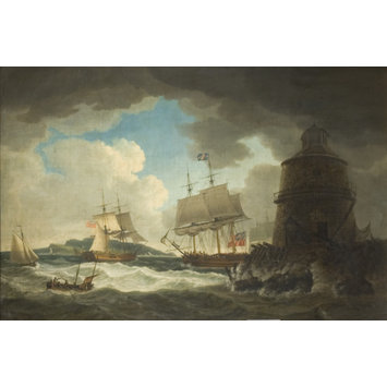 Oil painting - The Lighthouse in the Bay of Dublin, with His Majesty's Yacht 'Dorset'