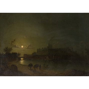 Oil painting - Windsor Castle and town by moonlight
