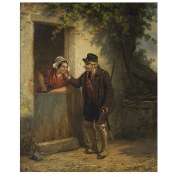 Oil painting - Game Keeper and Woman at Cottage Door