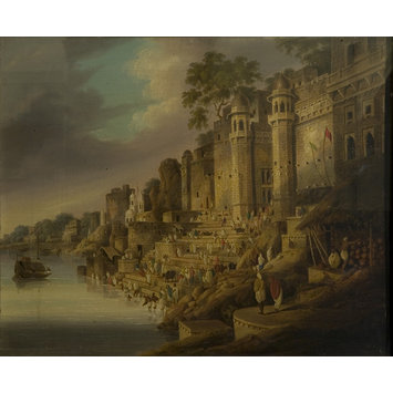 Oil painting - Bathing Scene at a Ghat (probably the Lalita Ghat) on the Ganges at Benares (Varanasi)