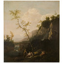 Rocky Landscape with Figures (Oil painting)