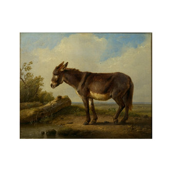 Oil painting - Landscape with donkey