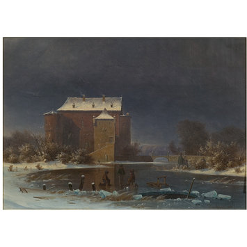 Oil painting - Snow scene: the haunted house