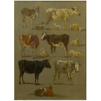 Oil painting - Studies of Animals: Cows and Oxen, Sheep and a Donkey