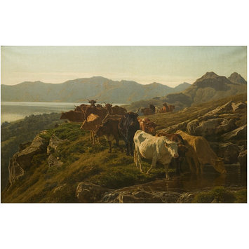 Oil painting - Highland Scene with Cattle