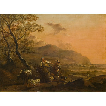 Oil painting - Landscape with figures