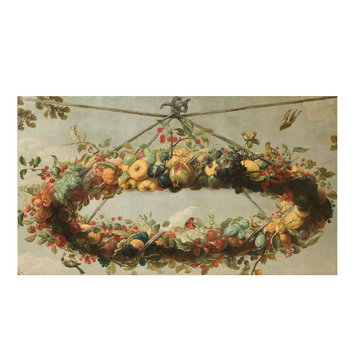 Oil painting - A wreath of fruit, with birds, suspended from a cord