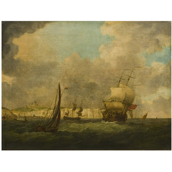 Oil painting - Shipping off Dover, with town and castle in the distance