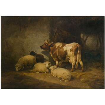 Oil painting - Cow and sheep