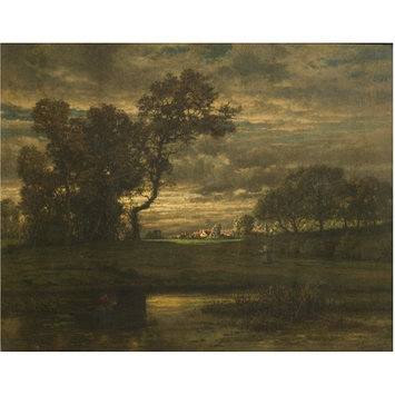 Oil painting - Landscape with fisherman and boat