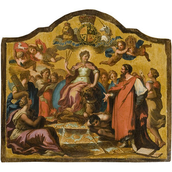 Panel - Allegorical Figures: Britannia Enthroned, surrounded by Concord, Learning and Religion overcoming Vice (panel from Royal State Coach for George I)