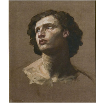 Oil painting - Head of a man looking upwards and sideways
