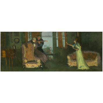 Painting - Winifred Emery as Rosamund, Cyril Maude as Mr Watkin and Brandon Thomas as Mr Brabazon in <i>Sowing the Wind</i> by Sydney Grundy