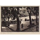 Venice - La place en été (Wood engraving)