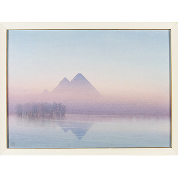 Watercolour - Pyramids At Sunset