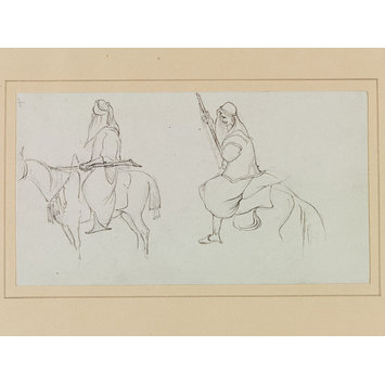Drawing - Studies of two Arabs with rifles, on horseback