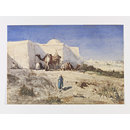 Arabs and camels beside a Tomb, Algeria[?] (Watercolour)