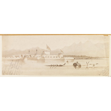 Watercolour - Turkish Fort of Chanak-Kaleh-si (asiatic Side).  View Taken from the center of the strait