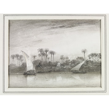 Drawing - Evening Eckmeen left Bank of the Nile