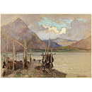 Scene with mountains, lake and jetty (Watercolour)