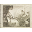 The Genii takes Beddridin Hassen from the Bed of the Beautiful Lady, and lays him at the Gates of Damascus (Stipple engraving)