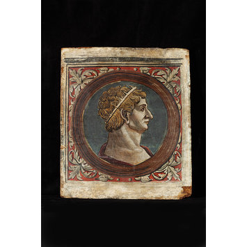 Tempera painting - Profile bust of a Roman emperor facing right