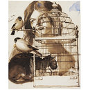 Woman and Bird Cage (Drawing)