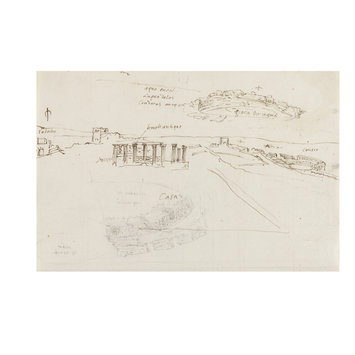 Drawing - Recto: View of the Roman Amphitheatre, Temple, Acqueduct and Other Classical Remains near Mérida