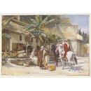 Village men conversing with two armed horsemen, Algiers (Watercolour)