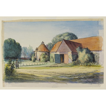 Watercolour - Tithe Barn and Dove House, Hurley